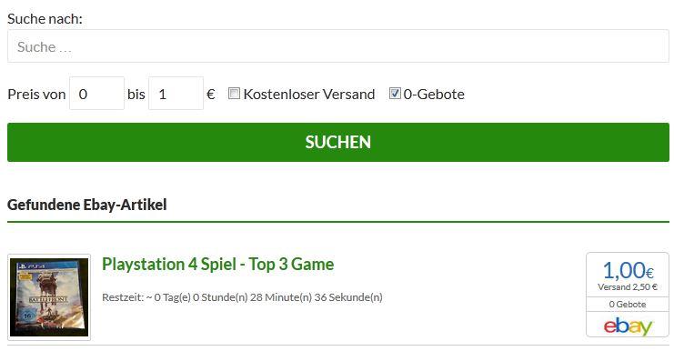 ebay Auktionen ohne Gebote auf AllSeeingEye.de