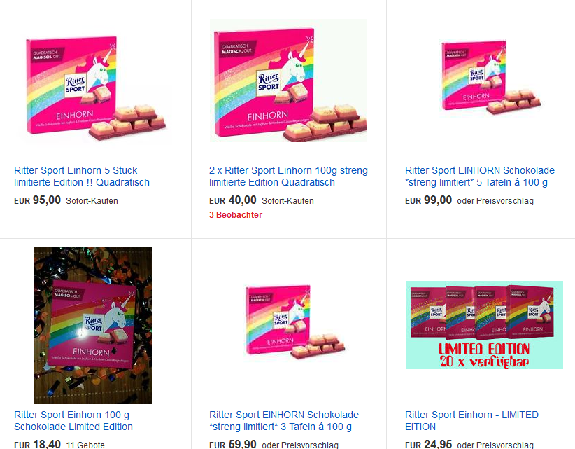 Ritter Sport Einhorn Schokolade auf eBay